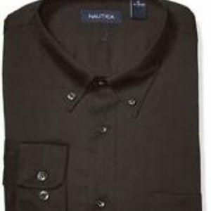 Nautica Textured Cotton Button Down Dress Shirt